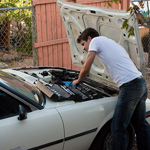 A Man working on His Car
